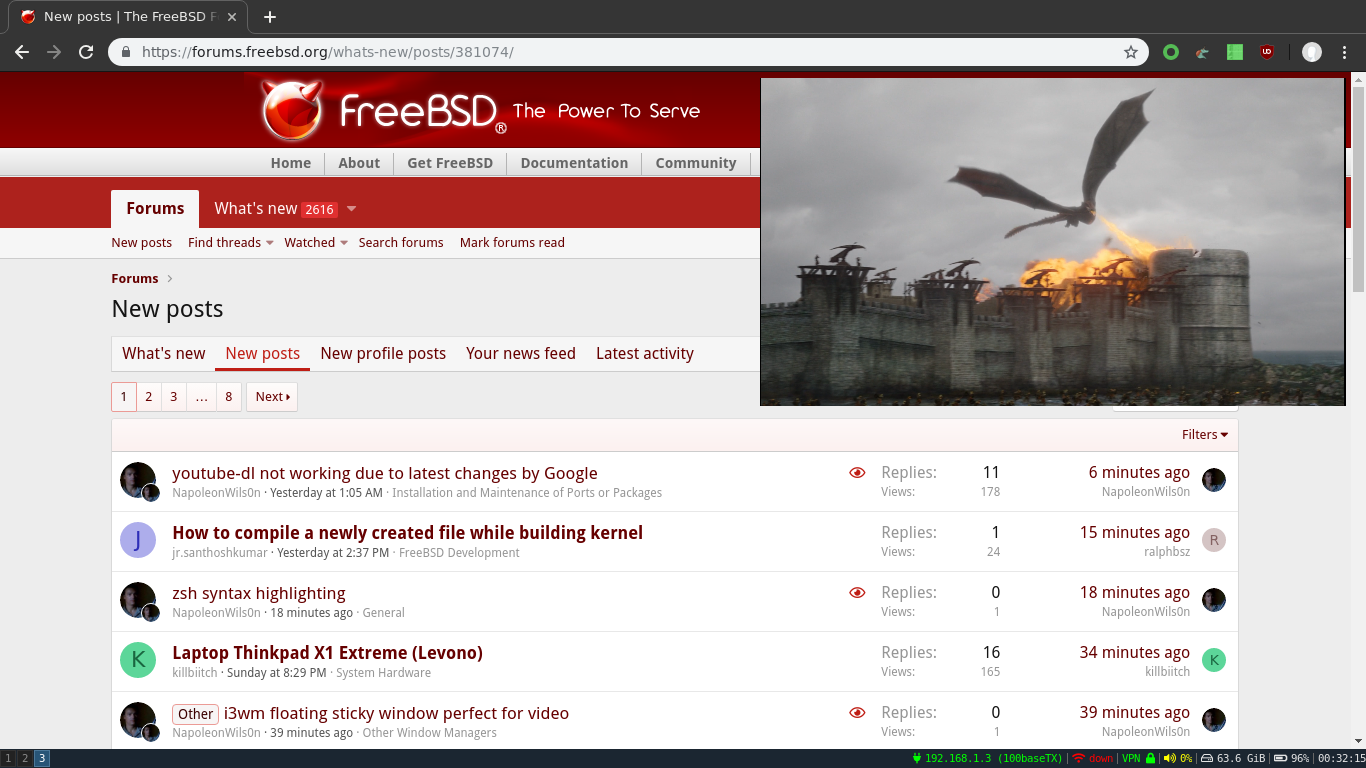Other - i3wm floating sticky window perfect for video | The FreeBSD