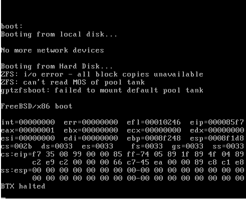 ZFS - gptzfsboot: failed to mount default pool | The FreeBSD